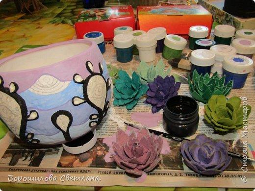 Понадобится:цветочный горшок(пластиковый!),соленое тесто,ПВА,стеки,простой карандаш,ластик,гуашь,лак. фото 5