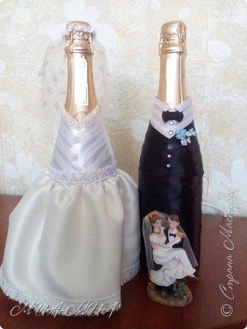 Доброго времени суток, Страна!! Продолжаю готовиться к свадьбе Дашеньки. К шкатулке  https://stranamasterov.ru/node/1147715  добавились еще 4 бутылки. Две - костюмы на бутылки и две под домашние напитки (молодые нальют в них свои домашние напитки). фото 2