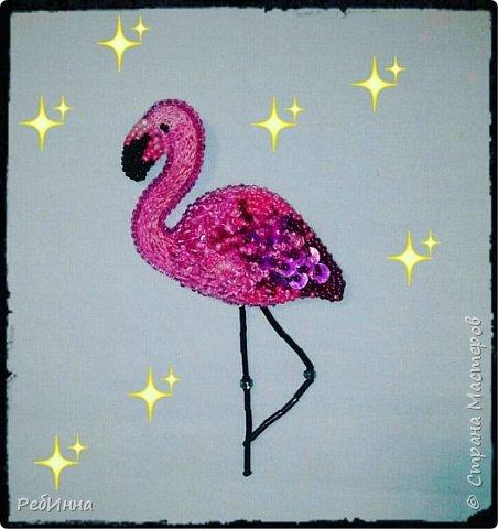 Фламинго вышила для старшей дочери на юбилей)))  фото 1