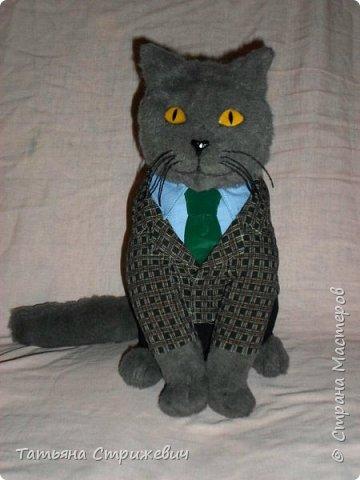 В продолжение кошачьей темы- Кот шеф-повар,сшит из иск.меха. Высота 35 см,глазки из эпоксидной смолы фото 3