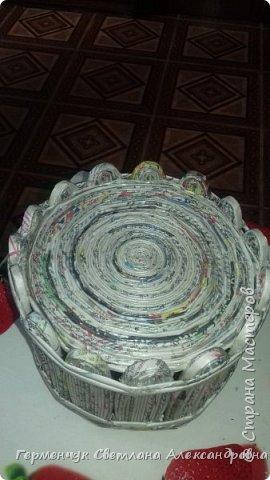 Добрый вечер СМ!   В Интернете  увидела интересное кашпо из бумажных трубочек  и  попробовала  сделать   .Вот  как я делала. фото 16