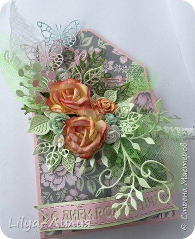 Добрый день!!! Давно я не брала в руки бумагу и цветы(((  Но я исправлюсь))) Покажу открытку- конверт по мк Татьяны Егурновой.  Конвертик получился очень нежный.