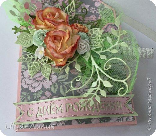 Добрый день!!! Давно я не брала в руки бумагу и цветы(((  Но я исправлюсь))) Покажу открытку- конверт по мк Татьяны Егурновой.  Конвертик получился очень нежный. фото 2