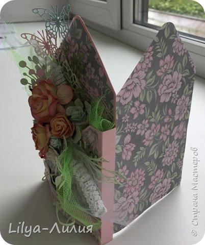 Добрый день!!! Давно я не брала в руки бумагу и цветы(((  Но я исправлюсь))) Покажу открытку- конверт по мк Татьяны Егурновой.  Конвертик получился очень нежный. фото 4
