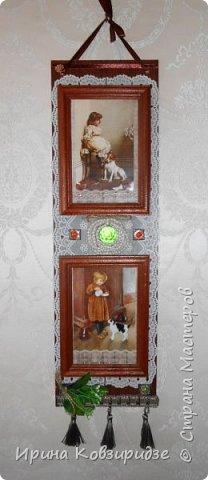 Последние два панно. Основа ДВП 950х15см) Резиновая салфетка, рамочки для фото, распечатки, тесьма. ленты и пр. фото 2