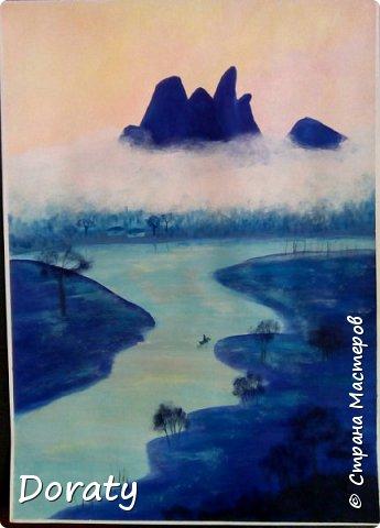 Всем доброго дня! Я продолжаю рисовать. Всегда любила рисовать, но красками стала рисовать совсем недавно . Прошло всего полтора года.  Море. фото 2