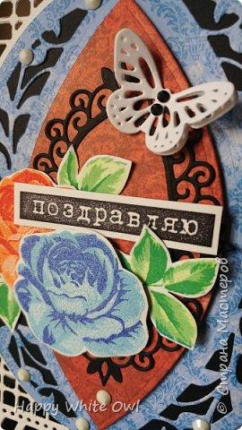 """Всем привет! Хочу поделиться с Вами своими последними открытками. К сожалению, сегодня смогу выложить не все работы. Первая открытка простая, но очень тёплая: с чашкой, чайником и маленькими цветочками.  Бумагу тонировала Disterss ink Vintage photo, надпись и чайный пакетик делала с помощью Disterss Oxide Vintage photo.  Чашка, чайник и цветочки приподняты за счет объемного двухстороннего скотча. Выбрала надпись """"Расцветай от счастья"""", т.к. она нежная и добрая. фото 10"""