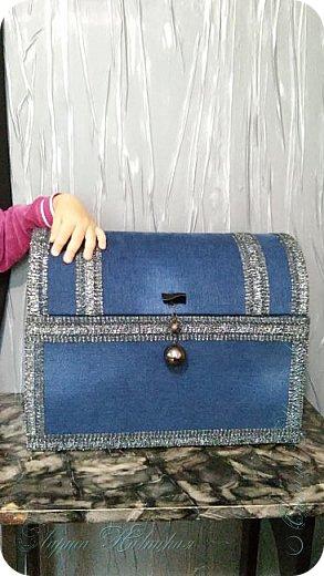 Ещё один сундук.Использовала картонную коробку. Уплотняла,конечно,картоном..люблю прочность. фото 5