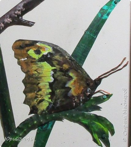 Бабочка цирцея (Brintesia circe). Основа - древесностружечная плита. Материалы - жесть, проволока, краска. Размер - 18 х 28 см фото 3