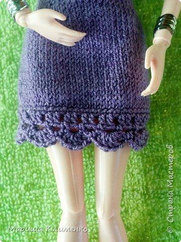Вязаное платье для барби спицами фото 3