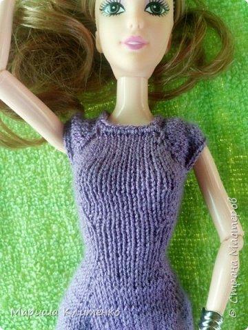 Вязаное платье для барби спицами фото 4