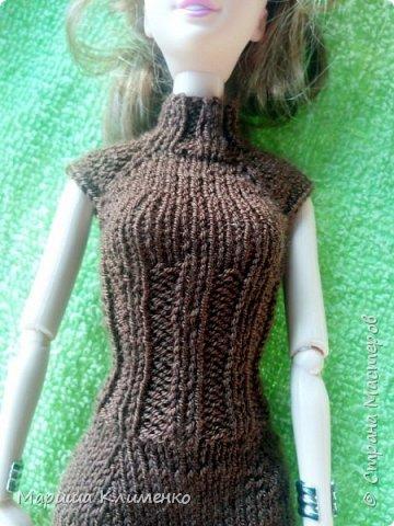 Вязаное платье для барби спицами фото 2