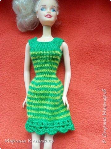 Вязаное платье для барби спицами фото 1