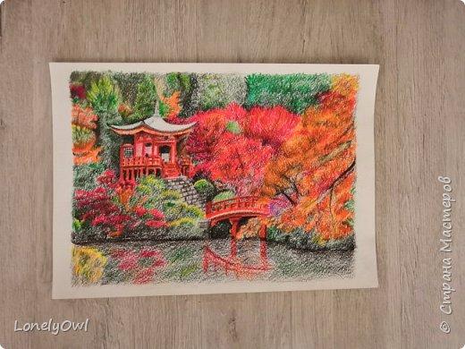 Пейзаж цветными карандашами