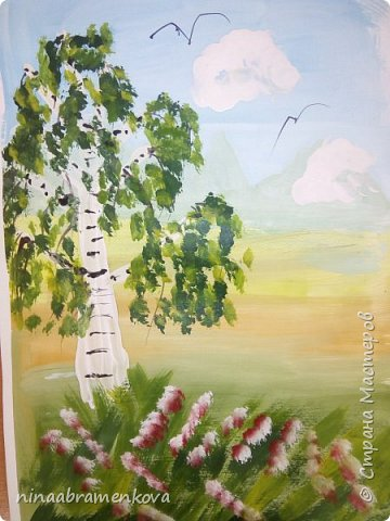 Представляю разработку мастер - класса «Белая берёзка».  Хочу показать новый метод правополушарного рисования, позаимствованный у Наташи Йорк и возможности строительной плоской кисти. Детям очень нравится. фото 20