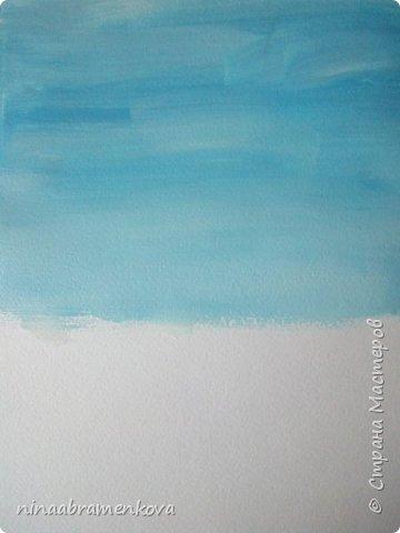 Представляю разработку мастер - класса «Белая берёзка».  Хочу показать новый метод правополушарного рисования, позаимствованный у Наташи Йорк и возможности строительной плоской кисти. Детям очень нравится. фото 4