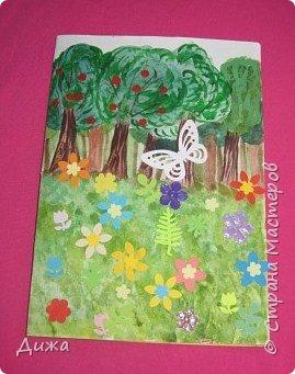Всем огромный привет! Продолжаю показывать свои открытки :-)   Сегодня хочу вам показать двадцать вторую открытку, которую я сделала для одноклассницы. Открытка про лесную полянку. Какая -то простенькая получилась, наверное уже идеи иссякли. Вручила в конце мая, уже успела устать.   Фон нарисовала акварельными красками, приклеила вырубки цветочков и листочков.  Фоток мало фото 1