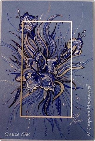 рисунок гелевыми ручками по паспарту, можно использовать в качестве открыточки. Размер 18х9 фото 1