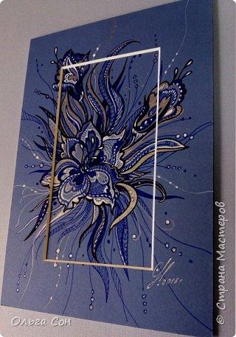 рисунок гелевыми ручками по паспарту, можно использовать в качестве открыточки. Размер 18х9 фото 2