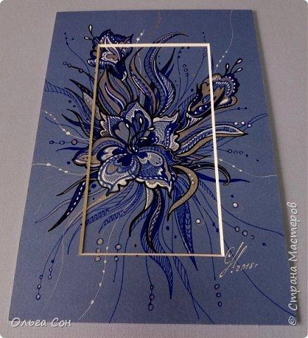 рисунок гелевыми ручками по паспарту, можно использовать в качестве открыточки. Размер 18х9 фото 3