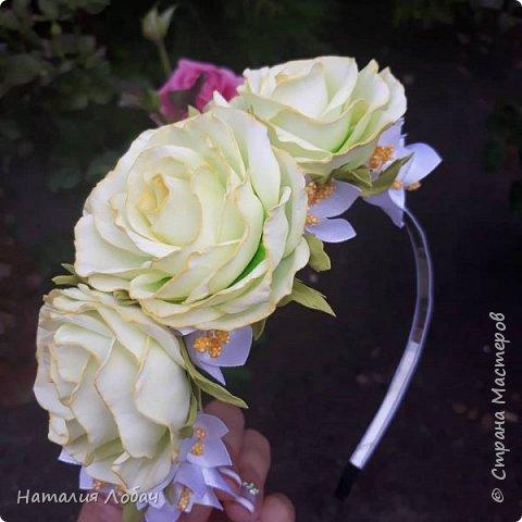 Ободок с розами из фоамирана фото 2