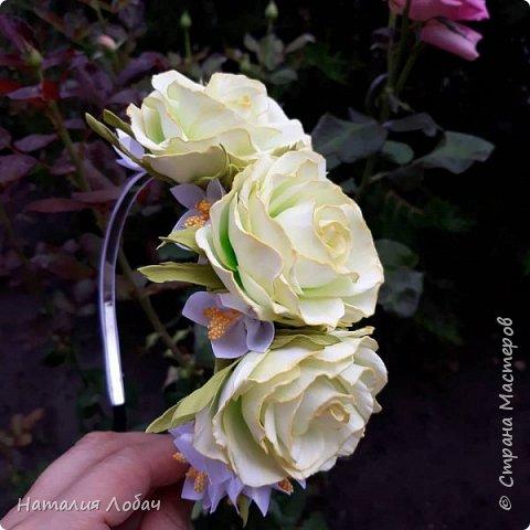 Ободок с розами из фоамирана фото 3