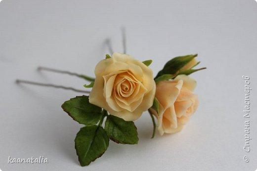 Шпильки персиковые розы фото 5