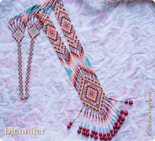 Здравствуйте! Хочу похвастаться своей работой в технике бисероплетение - прямое плетение с помощью станка) Это украшение носит название - гердан!  фото 2