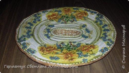 Добрый день , жители СМ  !!!  Моя первая проба -декоративная тарелка из трубочек фото 1