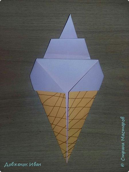 """Добрый день. Провёл мастер-класс по оригами для детей в возрасте от 3 года до 14 лет. Мероприятие называлось """"Пингвины без ангины"""".  Работы предназначены для раннего развития детей  Очень много было желающих сделать вот такое мороженное рожок.   Работы делаем по сложности изготовления 1)   фото 1"""
