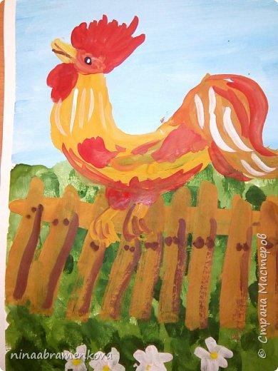 Рисуем с детьми: «Петушок на заборе». Дети очень любят рисовать петуха. Это один из любимых героев сказок.  фото 18