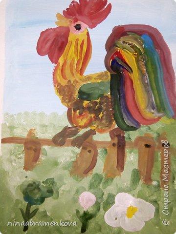 Рисуем с детьми: «Петушок на заборе». Дети очень любят рисовать петуха. Это один из любимых героев сказок.  фото 19