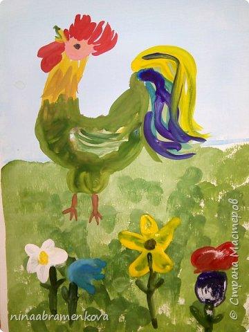 Рисуем с детьми: «Петушок на заборе». Дети очень любят рисовать петуха. Это один из любимых героев сказок.  фото 20