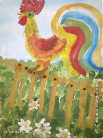 Рисуем с детьми: «Петушок на заборе». Дети очень любят рисовать петуха. Это один из любимых героев сказок.  фото 21