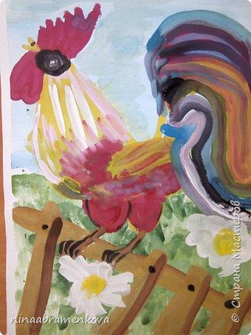 Рисуем с детьми: «Петушок на заборе». Дети очень любят рисовать петуха. Это один из любимых героев сказок.  фото 23