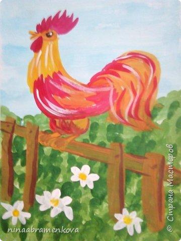 Рисуем с детьми: «Петушок на заборе». Дети очень любят рисовать петуха. Это один из любимых героев сказок.  фото 1