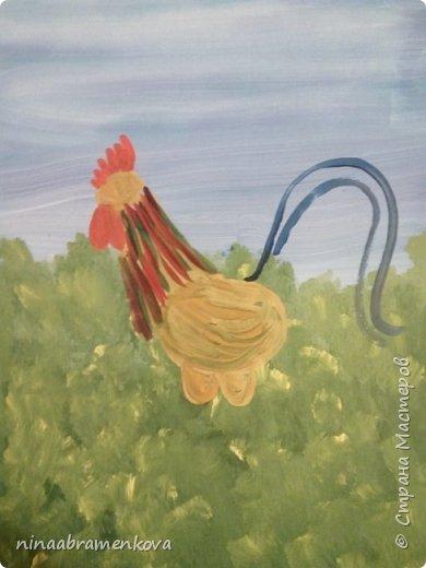 Рисуем с детьми: «Петушок на заборе». Дети очень любят рисовать петуха. Это один из любимых героев сказок.  фото 9