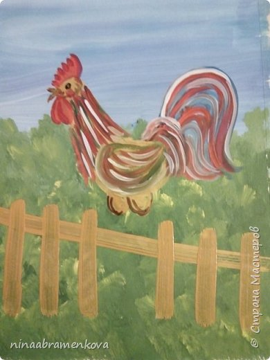 Рисуем с детьми: «Петушок на заборе». Дети очень любят рисовать петуха. Это один из любимых героев сказок.  фото 13
