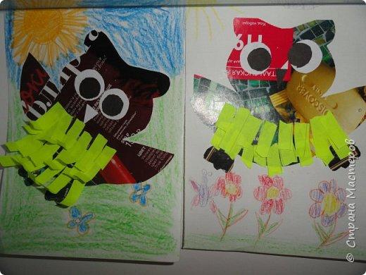 ВСем привет. Выставила  работы сделанные детками в апреле.   Совушки. Их я увидела здесь, на сайте, запомнила, но идейника  забыла! фото 1