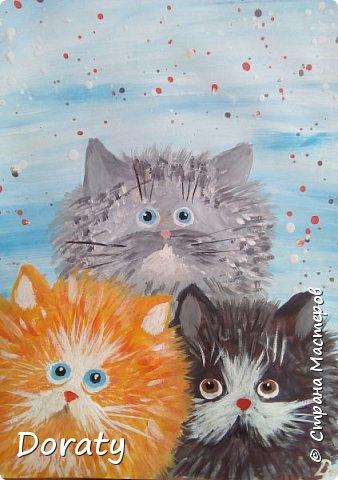 Что то захотелось мне порисовать котиков. Очень вдохновили меня коты Kim Haskins. По мотивам ее работ, появились на свет и мои котики. фото 1