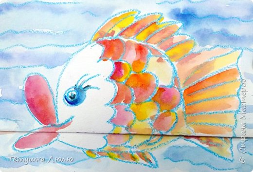 Как нарисовать рыбку ( поэтапный урок эксперимент № 4 ) фото 2