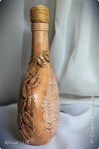 Добрый день, дорогие мастерицы! я с бутылочками для наливок домашних. Стеклянные бутылки, грунт, краска, салфетки, объемные элементы выполнены из массы для лепки Das. фото 6