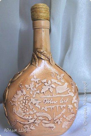 Добрый день, дорогие мастерицы! я с бутылочками для наливок домашних. Стеклянные бутылки, грунт, краска, салфетки, объемные элементы выполнены из массы для лепки Das. фото 7