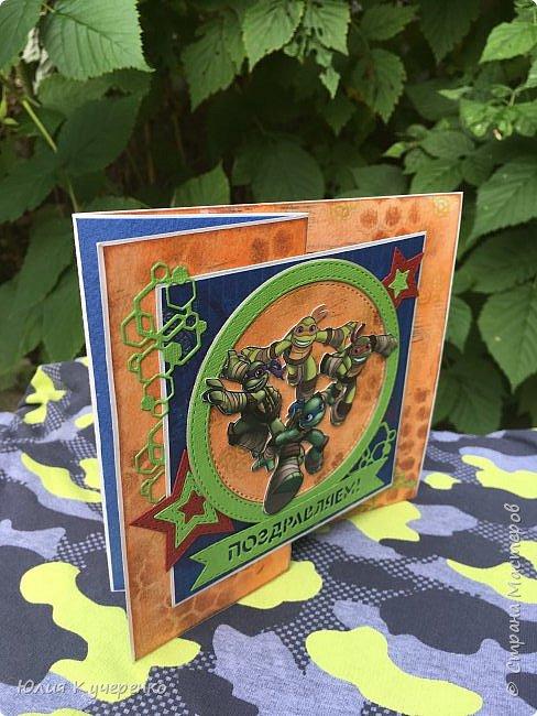 И снова здравствуйте! На этот раз я с открыткой для своего младшего сынишки) Захотел он День рождения в стиле Черепашек- ниндзя) Пришлось соответствовать стилю)) фото 6