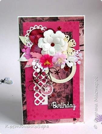 Ещё пять открыток ко дню рождения. Только теперь цвет открыток насыщенный малиновый или фуксийный, как кому ближе. Сочетание с коричневым, белым и слоновая кость. фото 1