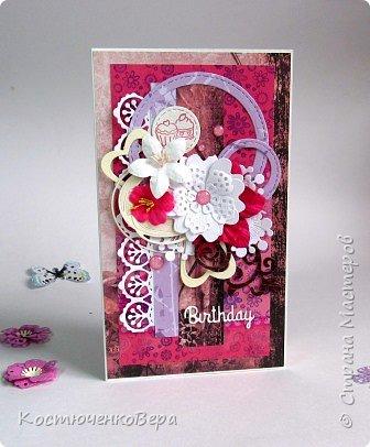 Ещё пять открыток ко дню рождения. Только теперь цвет открыток насыщенный малиновый или фуксийный, как кому ближе. Сочетание с коричневым, белым и слоновая кость. фото 2