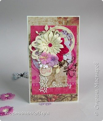 Ещё пять открыток ко дню рождения. Только теперь цвет открыток насыщенный малиновый или фуксийный, как кому ближе. Сочетание с коричневым, белым и слоновая кость. фото 4