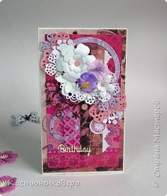 Ещё пять открыток ко дню рождения. Только теперь цвет открыток насыщенный малиновый или фуксийный, как кому ближе. Сочетание с коричневым, белым и слоновая кость. фото 5