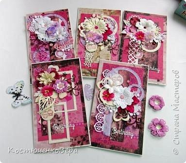 Ещё пять открыток ко дню рождения. Только теперь цвет открыток насыщенный малиновый или фуксийный, как кому ближе. Сочетание с коричневым, белым и слоновая кость. фото 6