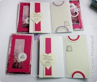 Ещё пять открыток ко дню рождения. Только теперь цвет открыток насыщенный малиновый или фуксийный, как кому ближе. Сочетание с коричневым, белым и слоновая кость. фото 8